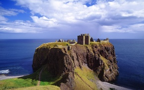 Scotland, UK, landscape, horizon, grass, castle