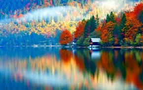 reflection, colorful, mist, landscape, nature, water