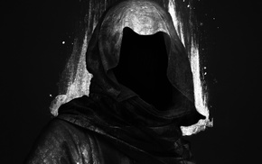 hoods, faceless, Grim Reaper, digital art, black background, dark
