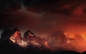 Torres del Paine, orange, landscape, nature, mountain, Chile
