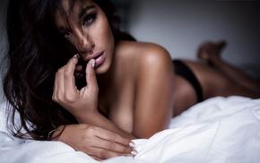 black panties, brunette, model, Marcel Sander, looking at viewer, no bra