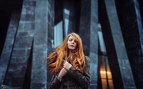 long hair, Georgiy Chernyadyev, redhead, girl outdoors, girl
