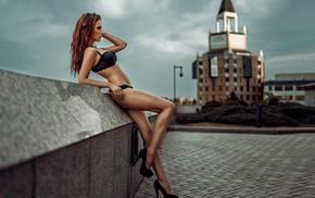 redhead, auburn hair, long hair, girl, Alla Berger, high heels