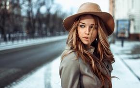 looking away, girl, long hair, winter, blue eyes, auburn hair