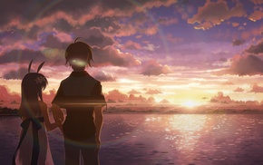 sunset, DJ Max, clouds, anime girls, short hair, long hair