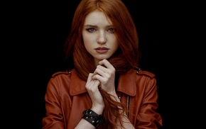 girl, jacket, leather jackets, face, redhead, blue eyes