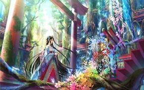 straight h, kimono, forest, nature, trees, hair ornament