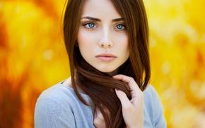 looking at viewer, face, blue eyes, girl, Ann Nevreva, long hair