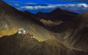monastery, mountain, clouds, Tibet, rock, Himalayas