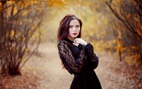 girl, dress, black dress, blue eyes, girl outdoors, fall