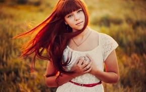 long hair, bangs, dress, girl outdoors, redhead, girl