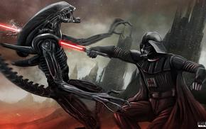 aliens, Darth Vader, artwork, Star Wars, fan art, science fiction