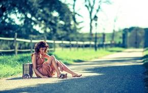 dress, barefoot, road, girl