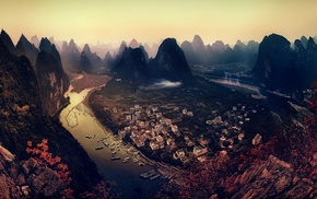 sunset, forest, mountain, river, landscape, building