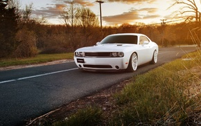 sunset, road, Dodge, Dodge Challenger, Vossen, car