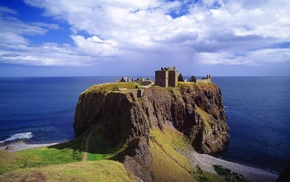 Scotland, ruin, UK, clouds, coast, cliff