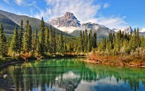 lake, clouds, summer, snowy peak, water, green