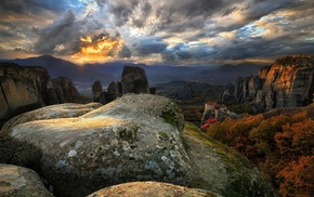 nature, mountain, fall, sunset, cliff, monastery