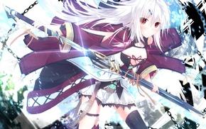 jewelry, anime, Zettai Ryouiki, weapon, anime girls, ribbon