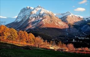 landscape, trees, forest, villages, snowy peak, mountain