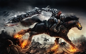 fantasy art, apocalyptic, hell, war, fire, horse
