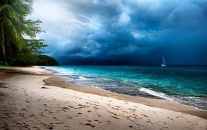 sand, island, sea, clouds, landscape, storm