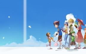 blue hair, clouds, Digimon Adventure, anime, brunette, glasses