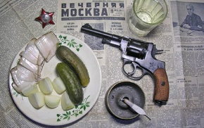 Russia, gun, newspapers, Soviet Union, Moscow