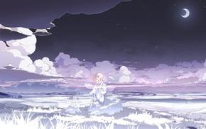 clouds, white dress, anime girls, night, stars, moon
