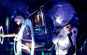 Sakata Gintoki, artwork, Ayanami Rei, anime girls, Neon Genesis Evangelion, Gintama