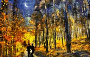 forest, painting, crescent moon, couple, surreal