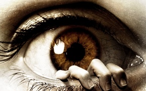 digital art, photo manipulation, eyes, hand, brown eyes, detailed
