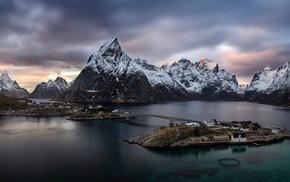 landscape, Lofoten, Norway, nature, water, clouds