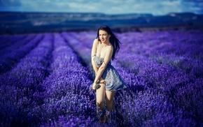 girl outdoors, lavender, brunette, model, girl, stripping