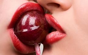 girl, sweets, lips, kissing