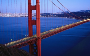 lights, bridge, sea, Golden Gate Bridge, landscape