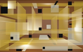abstract, 3D, square, brown background, digital art, yellow