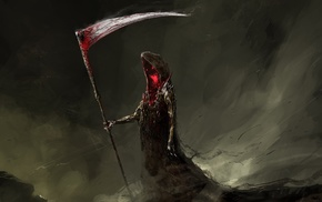 digital art, red eyes, blood, scythe, sickle, death