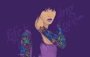 purple, face, Jared Nickerson, vectors, girl, tattoo