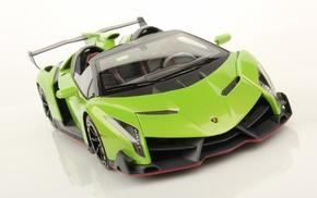 car, vehicle, Lamborghini Veneno Roadster, green cars, Lamborghini Veneno