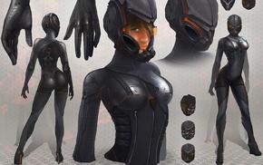 armor, futuristic, high heels, science fiction