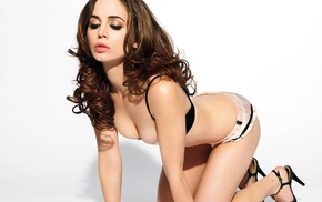 actress, girl, Eliza Dushku, brunette, cleavage, lingerie