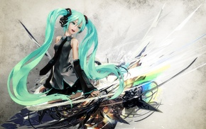 anime girls, long hair, Vocaloid, headphones, Hatsune Miku