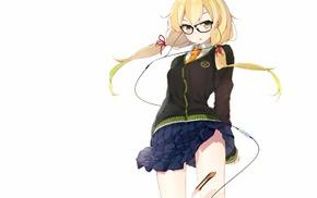 simple background, lifting skirt, anime, glasses, skirt, blonde