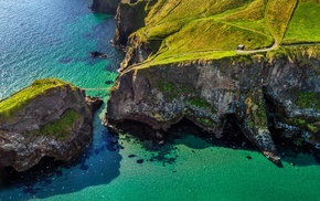 island, aerial view, nature, birds, grass, green