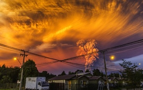 volcano, huge, eruptions, Calbuco Volcano, sunset, smoke