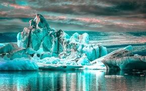 glaciers, landscape, water, nature, clouds, reflection
