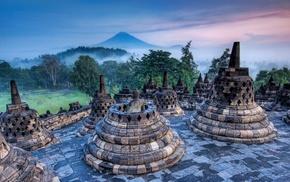 World Heritage Site, statue, stupa, sunrise, mist, forest