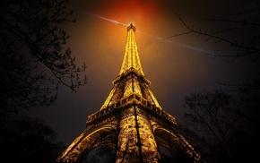 branch, France, urban, red, Paris, night