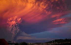 sunset, nature, toxic, eruptions, Calbuco Volcano, clouds